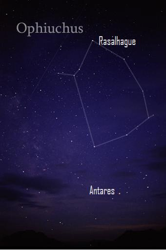 Image credit: Till Grednar On a dark, moonless night, look for Ophichus above the bright ruddy star Antares