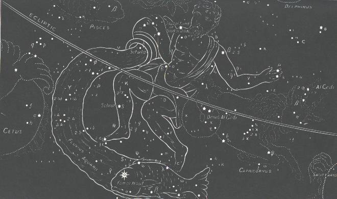 Water from the Water Jar of Aquarius going into the Mouth of the Fish.  In the real sky, you can see a zig-zag line of stars representing this flow of water.