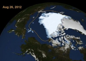 Arctic sea ice August 26, 2012 via NASA