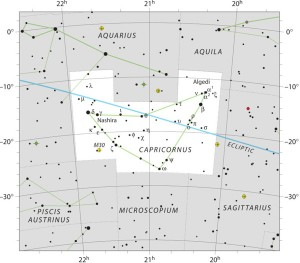 The constellation Capricornus the Sea-goat. Click here for a larger chart