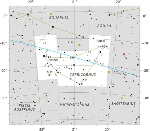 Star chart for Capricornus with stars in black on white.