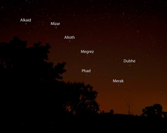 Big Dipper in reddish sky above trees, with the stars labeled.
