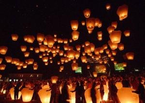 Sky lanterns at the Mid-Autumn Festival.