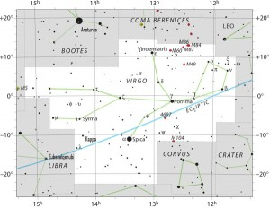 Sky chart shows the stars Zubenelgenubi (of Libra) and the Virgo stars Spica and Kappa Virginis (abbreviated Kappa on sky chart). Click here for a larger chart