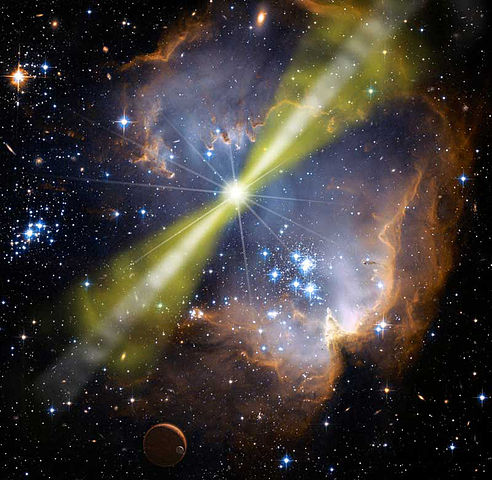 Brilliant star within veil-like clouds with green jets coming from the poles.