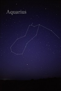 A photo of the faint stars in Aquarius, with lines drawn to connect member stars.