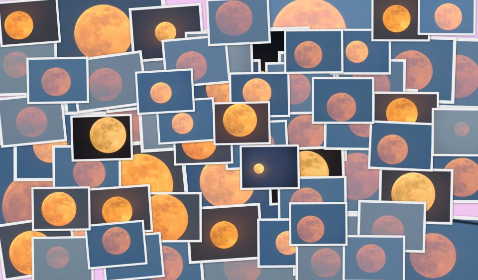 patchwork of many pictures of yellowish orange to reddish full moons.