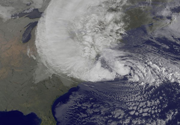 NOAA's GOES-13 satellite captured this visible image of Hurricane Sandy battering the U.S. East coast on Monday, Oct. 29 at 9:10 a.m. EDT. Sandy's center was about 310 miles south-southeast of New York City. Tropical Storm force winds are about 1,000 miles in diameter. Image Credit: NASA GOES Project