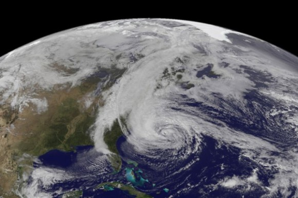 Hurricane Sandy on October 28, 2012 via the GOES-13 weather satellite. As of now, we are unsure how climate change affects tropical cyclones.