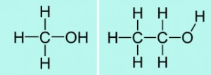 Villainous methanol (L) and heroic ethanol (R).
