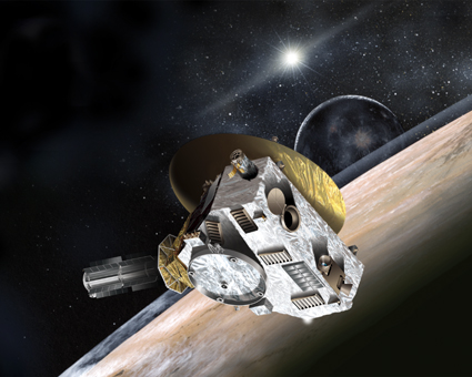 This artist's concept shows NASA's New Horizons spacecraft during its 2015 encounter with Pluto and its moon, Charon. Image via Southwest Research Institute