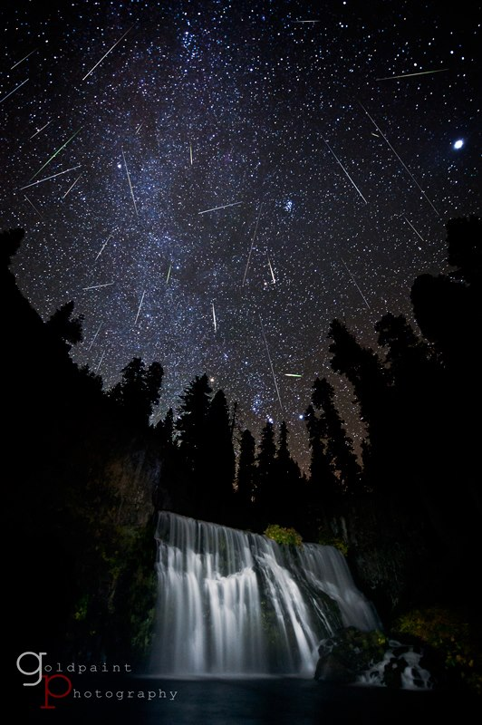 Photo from Goldpaint Photography of last year's Orionid meteor shower at Middle Falls, located just outside the city of McCloud near Mount Shasta, CA. It's a composite consisting of every meteor captured during the night and includes the Milky Way crashing into the illuminated falls. The image was Grand Prize Winner of Outdoor Photographer Magazine's 3rd Annual Great Outdoors Photography Contest and published in their July 2012 issue.  Notice there is more than one shower happening here.  More from Goldpaint Photography here.