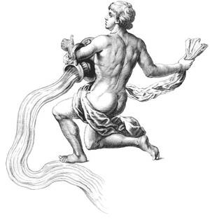 drawing of kneeling man carrying large jug with water flowing out
