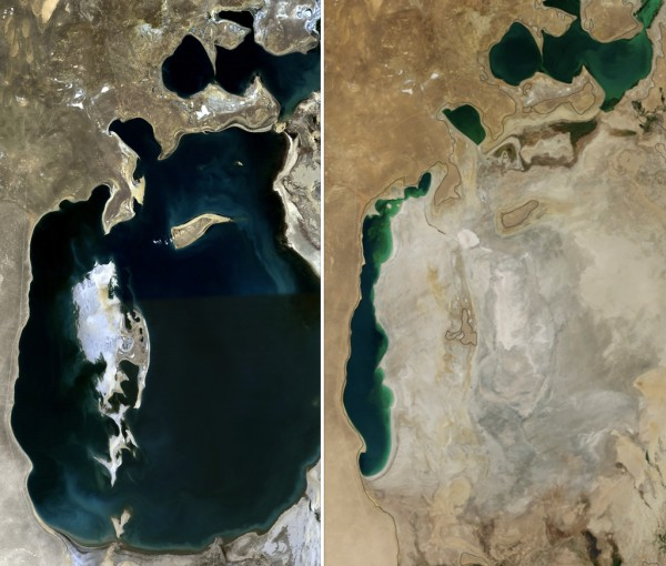 The Aral Sea in 1989 (l) and 2014 (r).  Image via Wikimedia Commons.