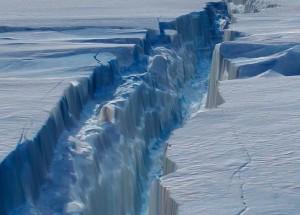 Still frame from animation of glacier rift