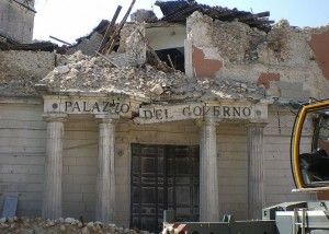 Government office in L'Aquila after 2009 earthquake