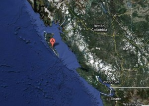 October 27, 2012 strong earthquake on Canadian island