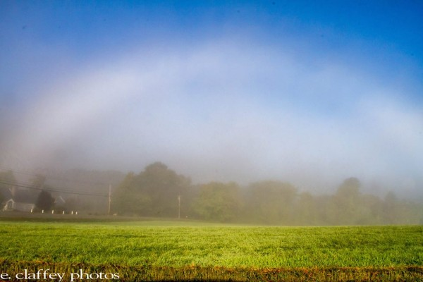 Eileen Claffey in Massachusetts captured this fogbow over a field in 2014.