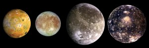 Jupiter's moons from left to right: Io, Europa, Ganymede and Callisto. Earth's moon is about the same size as Io. Image credit: NASA