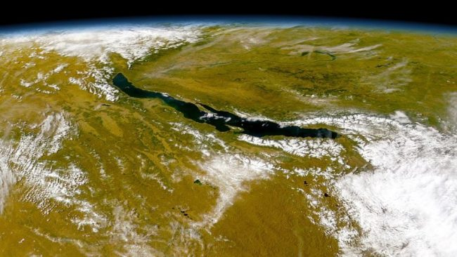 Lake Baikal seen from space. Image via Provided by the SeaWiFS Project, NASA/Goddard Space Flight Center, and ORBIMAGE.