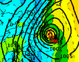 The ECMWF shows a similar track and intensity affecting the Northeast on Thursday, November 8, 2012. Image Credit: Allan's Model and Weather Data Page