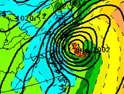 The 12z GFS model run on November 11, 2012 shows a 987 mb low pushing into the Northeast on Thursday, November 8, 2012. Image Credit: Allan's Model and Weather Data Page