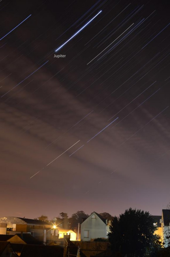 September 2013 guide to the five visible planets Jupiter_star_trail_Normandy_France_Mohamed_Laaifat_11-18-2012-e1353362729711