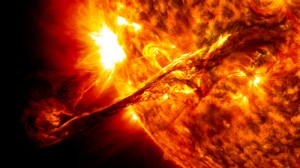 On August 31, 2012, the Solar Dynamics Observatory caught the sun launching streams of plasma into space at nearly 900 miles/sec.  Credit: NASA/GSFC/SDO
