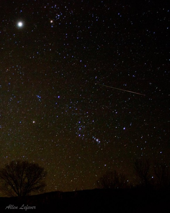 Meteor flies by constellation Orion. At top left of photo, planet Jupiter and star Aldebaran highlight constellation Taurus, near the radiant point of this weekend's meteor shower.  EarthSky Facebook friend Allen Lefever captured this meteor in November 2012.  Thanks, Allen!