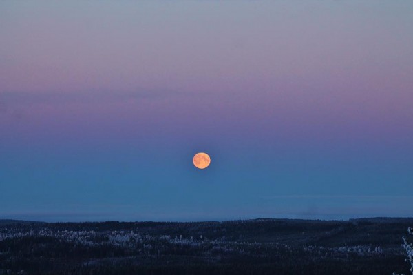 Earth's shadow, with full Hunter's Moon, on October 30, 2012.  Photo from EarthSky Facebook friend Birgit Boden in northern Sweden.