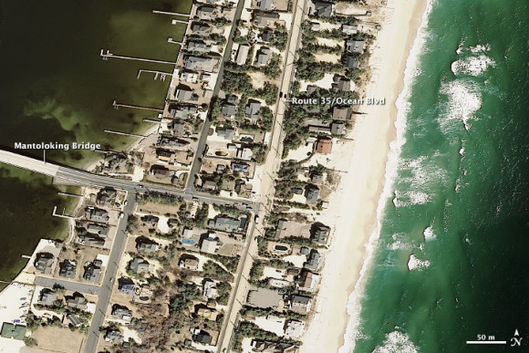 View larger.   Jersey shore March 18, 2007. Image credit NOAA.