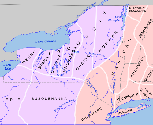 Map of New York state region and Lake Ontario with tribal areas defined.