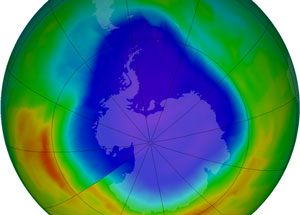 September 2012 ozone hole over Antarctica