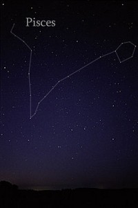 Photo of constellation Pisces, with outline of constellation indicated.
