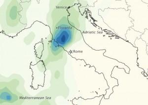 Heavy rainfall in Italy in November 2012.