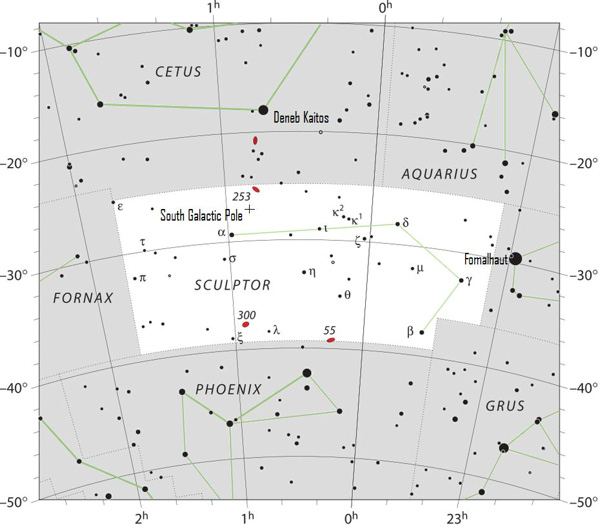 Star chart of constellation Sculptor with galactic pole located in upper middle.
