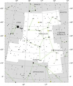 Sky chart of the constellation Hercules, showing the whereabouts of Messier 13 or the Hercules cluster. Click here for a larger chart