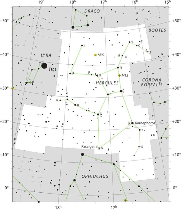 Sky chart of the constellation Hercules, black stars on white background.
