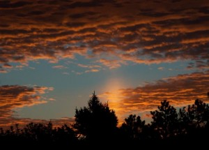 Sun pillar photo by Shanna Dennis