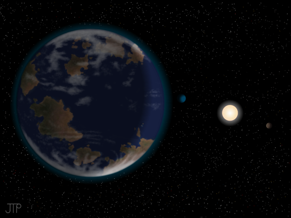 This artist's impression shows HD40307g in the foreground (on the left hand side), with its host star HD40307 and two other planets in the system (on the right-hand side). Image credit: J. Pinfield
