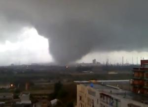 Tornado captured on film in Taranto, Italy on November 28, 2012.