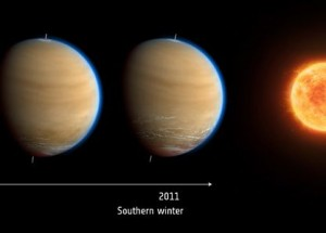 Seasonal change on Titan.  Image via ESA