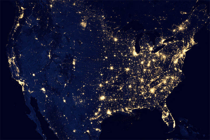 Us City Lights From Space Earth Earthsky