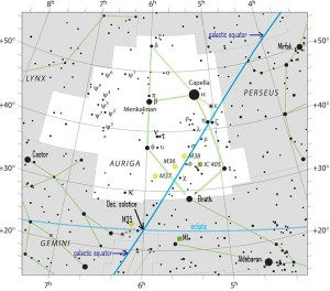 The constellation Auriga. The ecliptic and galactic equator intersect near December solstice point. Click here for a larger chart