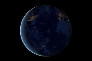 Earth at night via NASA-NOAA