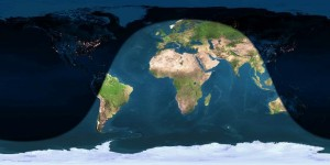 Day and night sides of Earth at instant of full moon (2012 December 28 at 10:21 Universal Time). Image credit: Earth and Moon Viewer