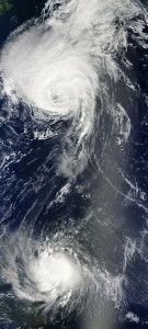 Hurricane Earl, with pal Hurricane Danielle. Image NASA Goddard photo and video.