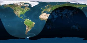 Day and night sides of Earth at instant of first quarter moon on 2013 June 16 at 17:24 Universal Time. Image credit: Earth and Moon Viewer