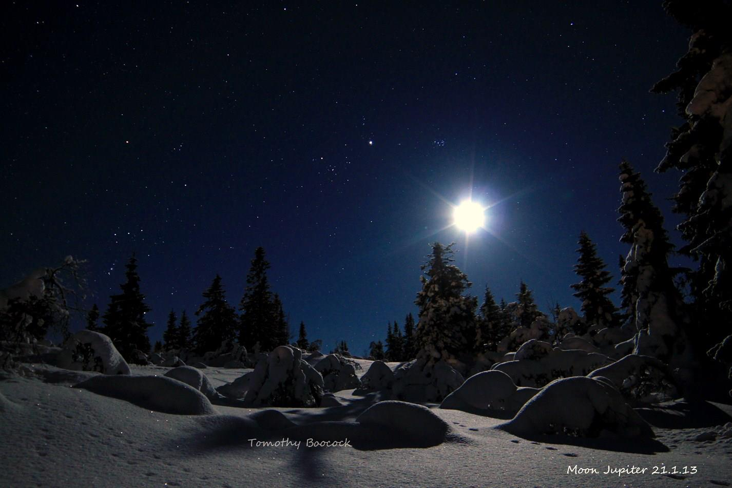 Jupiter on the night of January 20-21, 2013 from Trysil, Norway. Thank