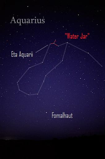 Entire constellation Aquarius, with two stars and Water Jar asterism labeled.